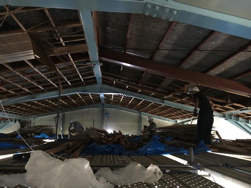 真夏の体育館天井での工事