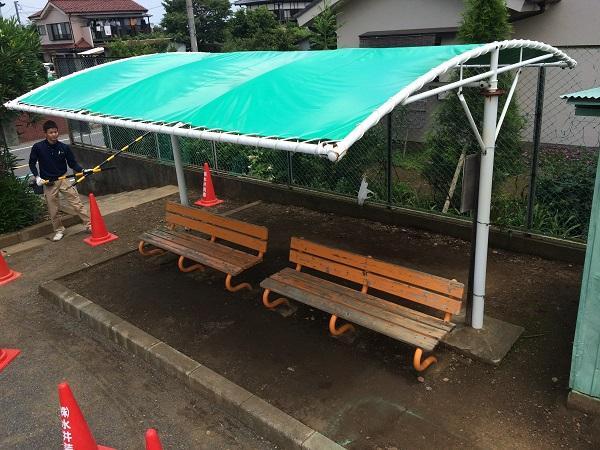 雨除けテントの張替え