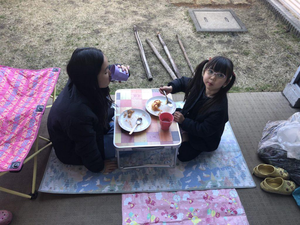 庭でピクニックをする子供